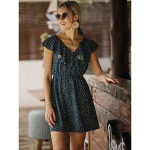 V neck Ruffled Dress